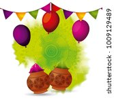 gulal powder color balloons and ... | Shutterstock .eps vector #1009129489