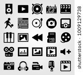 multimedia vector icon set.... | Shutterstock .eps vector #1009129738