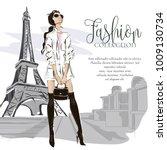 fashion woman near eiffel tower ... | Shutterstock .eps vector #1009130734