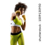 boxer girl throwing a fierce... | Shutterstock . vector #1009130950