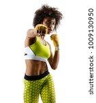 boxer girl throwing a fierce... | Shutterstock . vector #1009130950