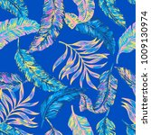 blue tropical leaves and palm... | Shutterstock .eps vector #1009130974