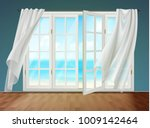 room with view on sea from open ... | Shutterstock .eps vector #1009142464