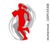 rugby woman player in red... | Shutterstock .eps vector #1009145308