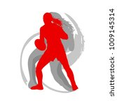 rugby woman player in red... | Shutterstock .eps vector #1009145314