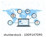 crm concept design with vector... | Shutterstock .eps vector #1009147090