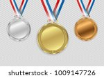 set of gold   bronze and silver.... | Shutterstock .eps vector #1009147726