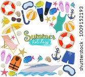 set of beach summer holidays...   Shutterstock .eps vector #1009152193