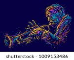 Jazz Trumpet Player. Vector...