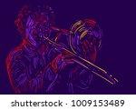 jazz trumpet player. vector... | Shutterstock .eps vector #1009153489