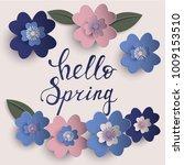 floral paper art vector card | Shutterstock .eps vector #1009153510