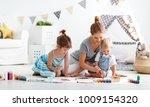 children's creativity. mother...   Shutterstock . vector #1009154320