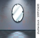 cold grey room with mirror | Shutterstock .eps vector #100915630