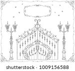 vintage forged gate  lantern... | Shutterstock .eps vector #1009156588