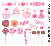 valentine's day sweets set  ... | Shutterstock .eps vector #1009156600
