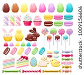 colorful easter sweets icons... | Shutterstock .eps vector #1009156606