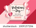 Stock vector valentines day sale background with paper cut love wallpaper flyers invitation posters 1009157206