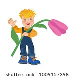 child is holding pink tulip  in ... | Shutterstock .eps vector #1009157398