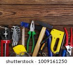 Tools On Wood  Background . Top ...