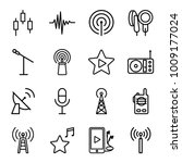 radio icons. set of 16 editable ... | Shutterstock .eps vector #1009177024