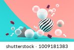 balloon floating on an pink and ... | Shutterstock . vector #1009181383