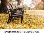 autumnal park with bench and... | Shutterstock . vector #100918738