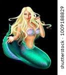blonde mermaid  isolated  on...   Shutterstock . vector #1009188829