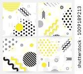 trendy memphis style geometric... | Shutterstock .eps vector #1009189213