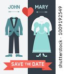 save the date card with bride... | Shutterstock .eps vector #1009192549