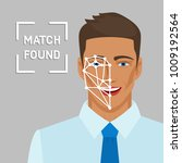 facial recognition concept with ... | Shutterstock .eps vector #1009192564