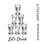 lets drink. alcoholic drinks in ... | Shutterstock .eps vector #1009193173