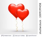 pair of 3d heart shaped air... | Shutterstock .eps vector #1009199458