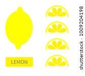 lemon fruit icon set. yellow... | Shutterstock .eps vector #1009204198