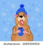 groundhog day 2 february. a... | Shutterstock .eps vector #1009204924