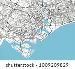 black and white vector city map ... | Shutterstock .eps vector #1009209829