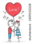happy valentines card. guy is... | Shutterstock .eps vector #1009210228