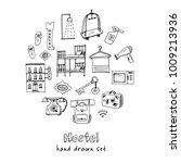 hostel hand drawn doodle set....   Shutterstock .eps vector #1009213936