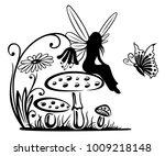 little fairy on a mushroom....   Shutterstock .eps vector #1009218148
