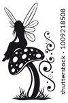 little fairy on a mushroom.    Shutterstock .eps vector #1009218508