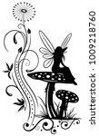 little fairy on a mushroom....   Shutterstock .eps vector #1009218760
