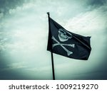 Photo shows a pirate flag...
