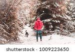 girl walking in winter... | Shutterstock . vector #1009223650