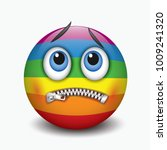zipped mouth smiley  emoticon ... | Shutterstock .eps vector #1009241320
