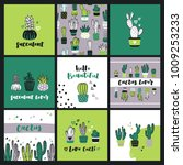 set of cute cactus lover... | Shutterstock .eps vector #1009253233