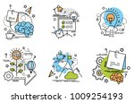 set of outline icons of idea.... | Shutterstock .eps vector #1009254193
