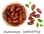 Dry Dates With Green Leaves In...