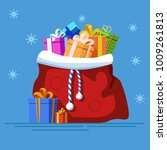 Red Bagfull Of Gifts. New Year...
