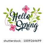 hello spring floral branches...   Shutterstock .eps vector #1009264699