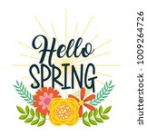 hello spring floral decoration... | Shutterstock .eps vector #1009264726