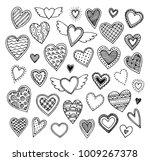 cute doodle hearts. sketch set... | Shutterstock .eps vector #1009267378